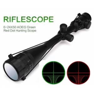 OT lunette 6-24x50mm AOEG  réticule lumineux rouge et vert